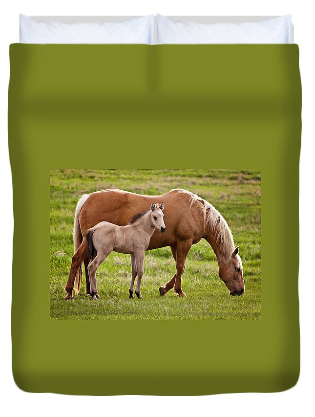 Horse Duvet Cover featuring the photograph Mom And Foal 2 by Donna Doherty