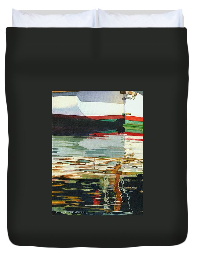 Seascape Duvet Cover featuring the painting Moment Of Reflection Xiii by Marguerite Chadwick-Juner