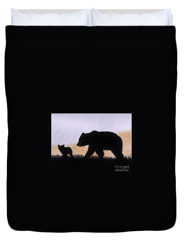 Bear Duvet Cover featuring the drawing Momma Bear And Cub by D Hackett