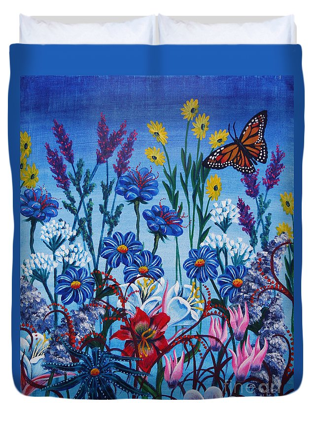 Flowers Duvet Cover featuring the painting Mom's Flowers by Colleen Moxy Murphy