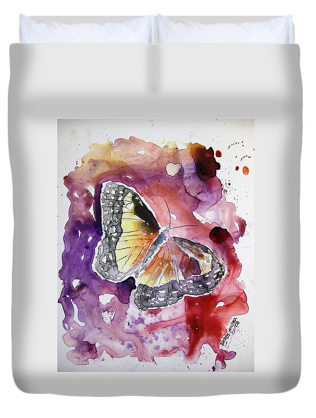 Monarch Duvet Cover featuring the painting Monarch Butterfly by Derek Mccrea