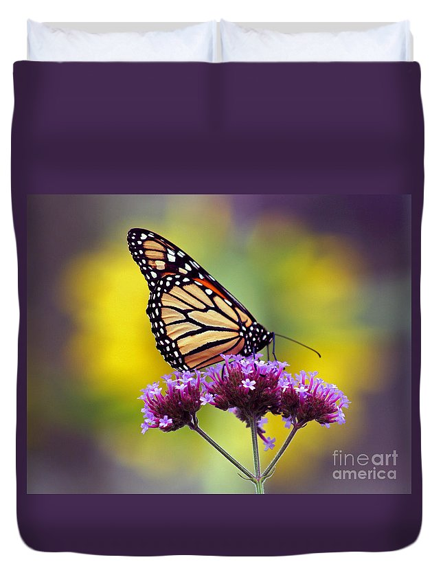 Monarch Duvet Cover featuring the photograph Monarch With Sunflower by Karen Adams