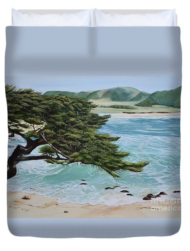 Beach Duvet Cover featuring the painting Monastery Beach by Mary Rogers