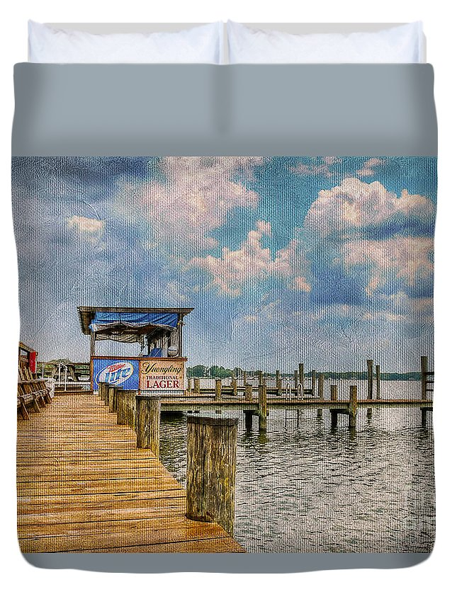 Marina Duvet Cover featuring the photograph Monday Monday by Lois Bryan