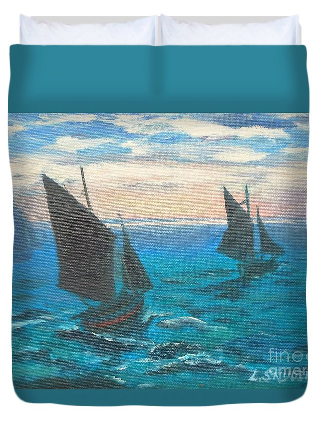 Claude Duvet Cover featuring the painting Monet's Boats Leaving The Harbor by Liz Snyder