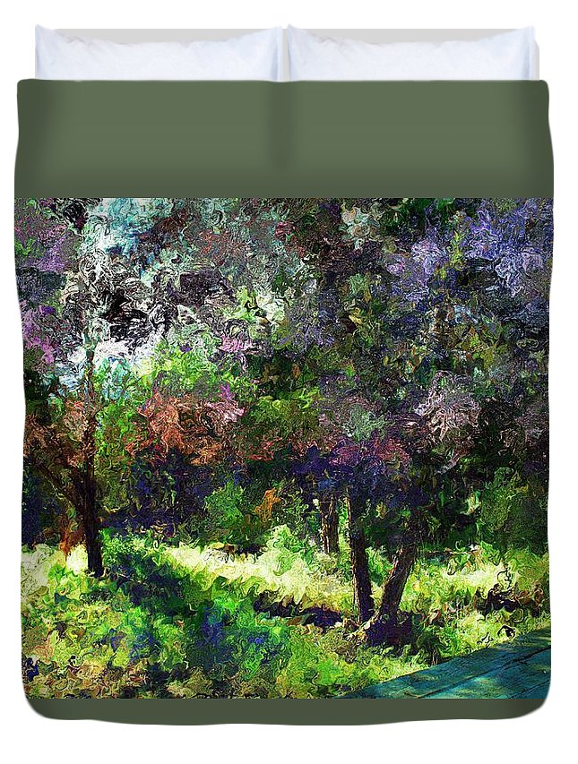 Landscape Duvet Cover featuring the mixed media Monet's Garden by Terence Morrissey