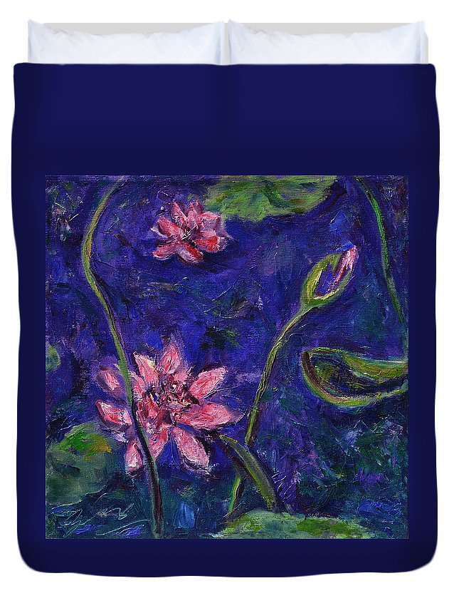 Water Lilies Duvet Cover featuring the painting Monet's Lily Pond I by Xueling Zou