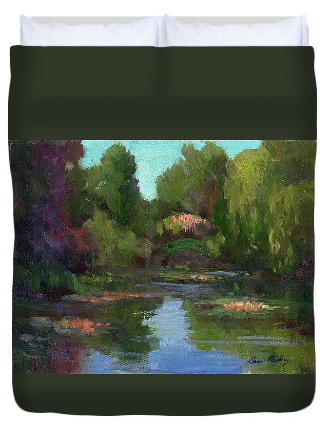 Monet Duvet Cover featuring the painting Monet's Water Lily Pond by Diane McClary