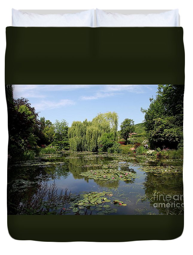 Pond Duvet Cover featuring the photograph Monets Waterlily Pond by Christiane Schulze Art And Photography