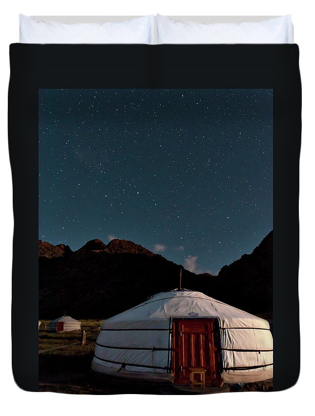 The Big Dipper Shines Over Our Yurt At The Khankhar-uul Camp In Duvet Cover featuring the photograph Mongolia By Starlight by Alan Toepfer