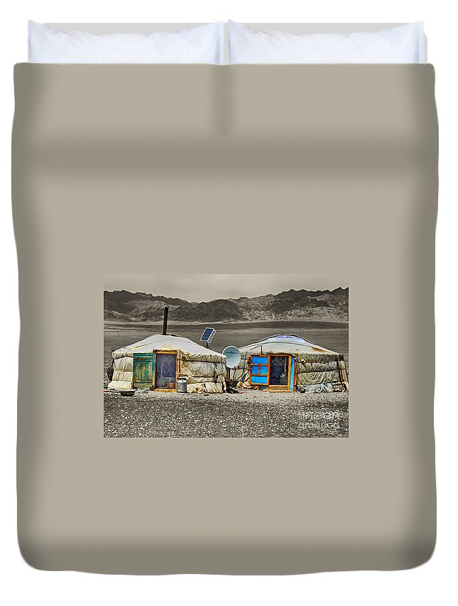Duvet Cover featuring the photograph Mongolian Yurts by Karla Weber