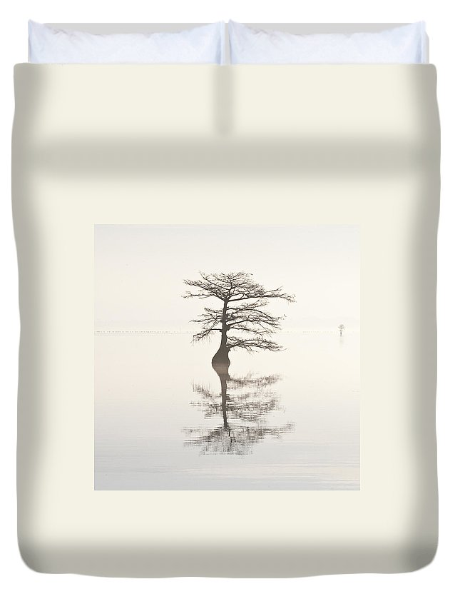 Cypress Duvet Cover featuring the photograph Monochromatic Morning On Lake Mattamuskeet Two by Bill Swindaman