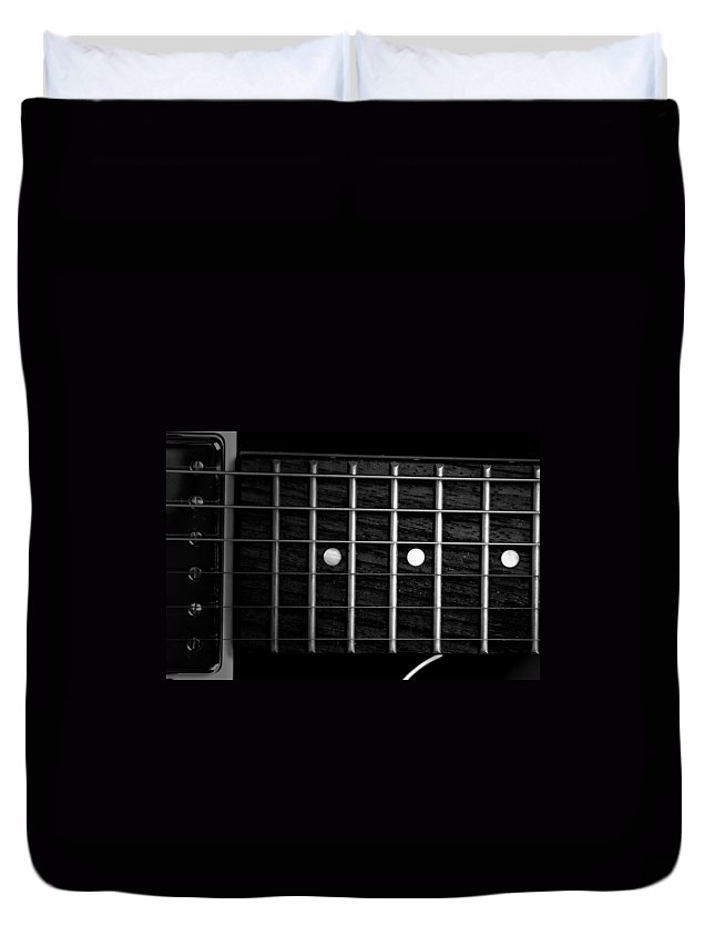 Fretboard Duvet Cover featuring the photograph Monochrome Fretboard by David Weeks