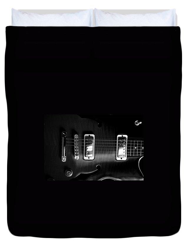 Yamaha Duvet Cover featuring the photograph Monochrome Yamaha by David Weeks