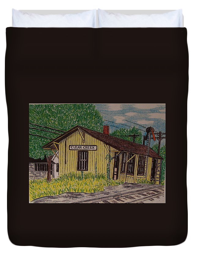 Monon. Monon Train Duvet Cover featuring the painting Monon Clear Creek Indiana Train Depot by Kathy Marrs Chandler