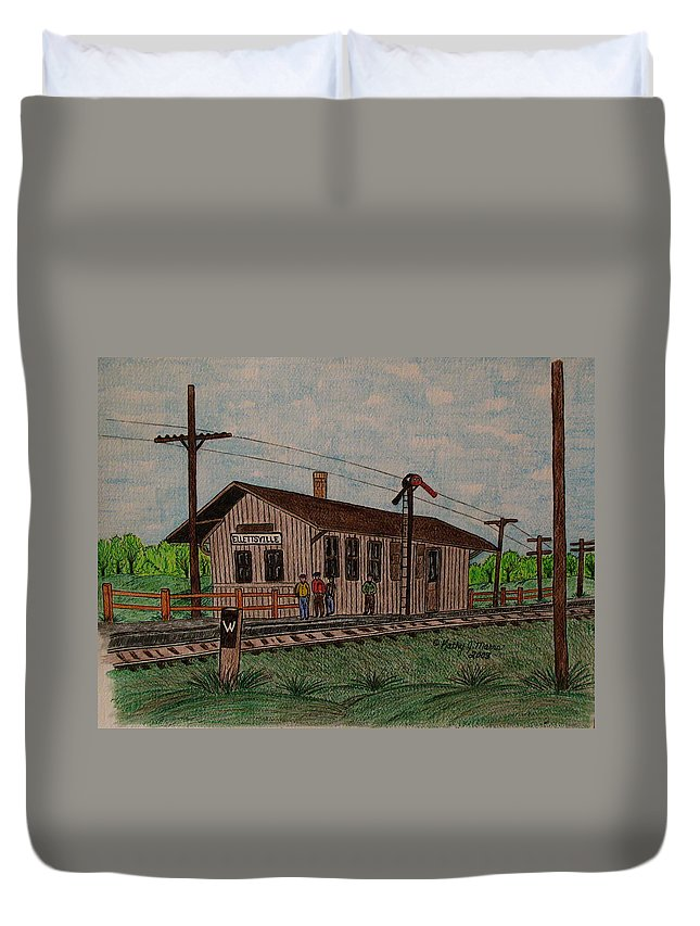 Monon Duvet Cover featuring the painting Monon Ellettsville Indiana Train Depot by Kathy Marrs Chandler