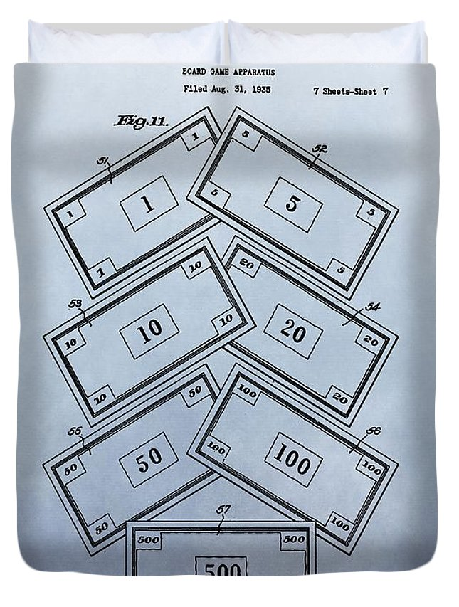 Monopoly Money Patent Duvet Cover featuring the digital art Monopoly Money Patent by Dan Sproul