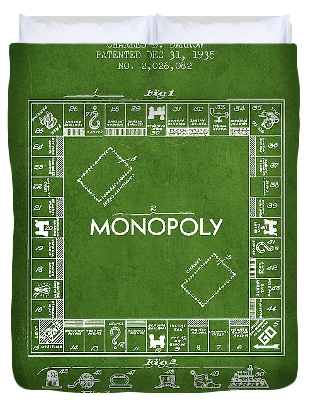 Monopoly Duvet Cover featuring the digital art Monopoly Patent From 1935 - Green by Aged Pixel