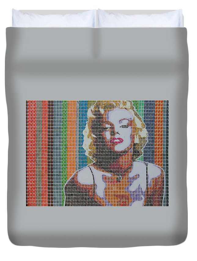 Marilyn Monroe Duvet Cover featuring the painting Monroe In Stamps by Gary Hogben