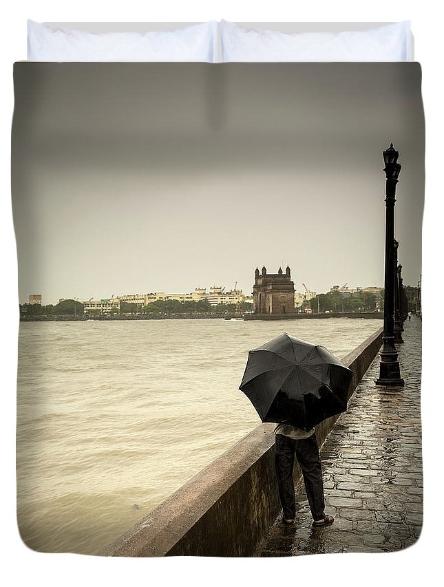 People Duvet Cover featuring the photograph Monsoon In Mumbai by Frank Bunnik