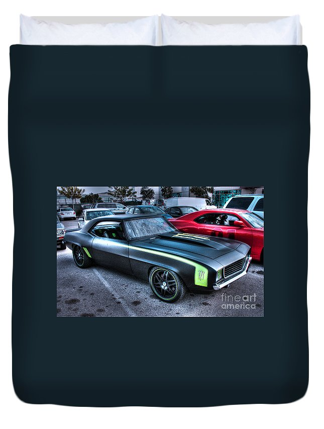 1969 Chevy Camaro Duvet Cover featuring the photograph Monster Camaro by Tommy Anderson