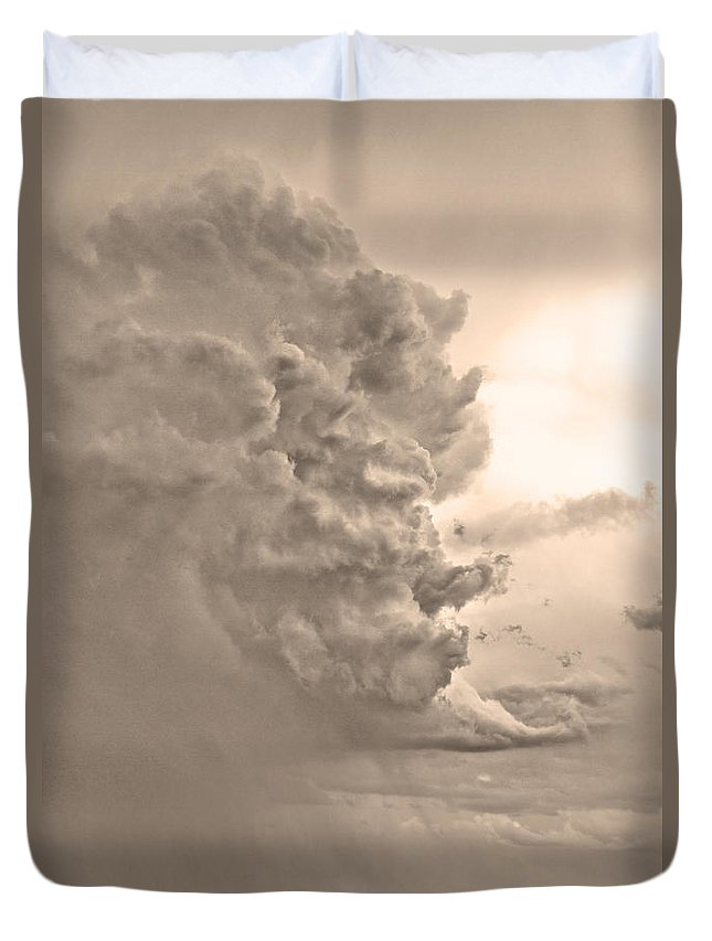 Country Duvet Cover featuring the photograph Monster Cloud Sepia Country by James BO Insogna