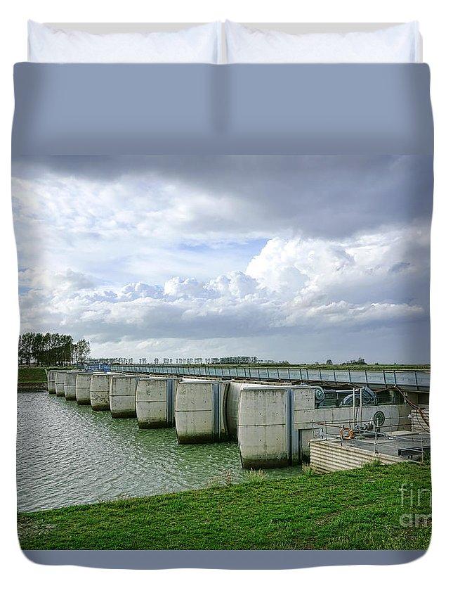 France Duvet Cover featuring the photograph Mont Saint Michel Dam by Olivier Le Queinec
