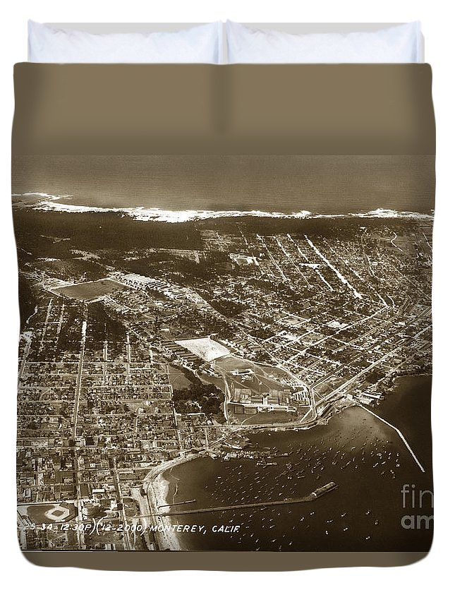 Aerial Duvet Cover featuring the photograph Aerial Of Monterey And Pacific Grove California Oct. 25 1934 by California Views Archives Mr Pat Hathaway Archives