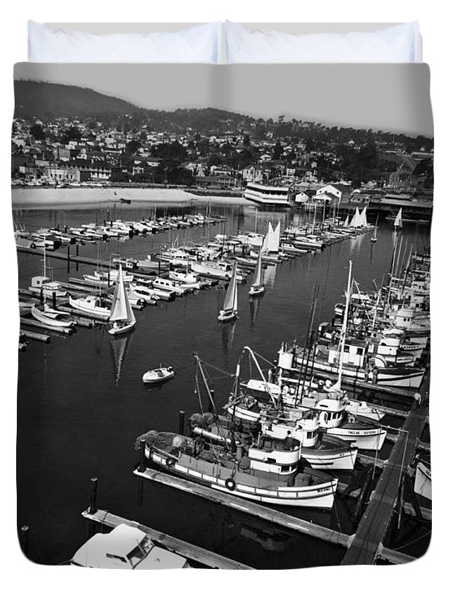 Monterey Duvet Cover featuring the photograph Monterey Marina With Fishing Boats In Slips Sept. 4 1961 by California Views Archives Mr Pat Hathaway Archives