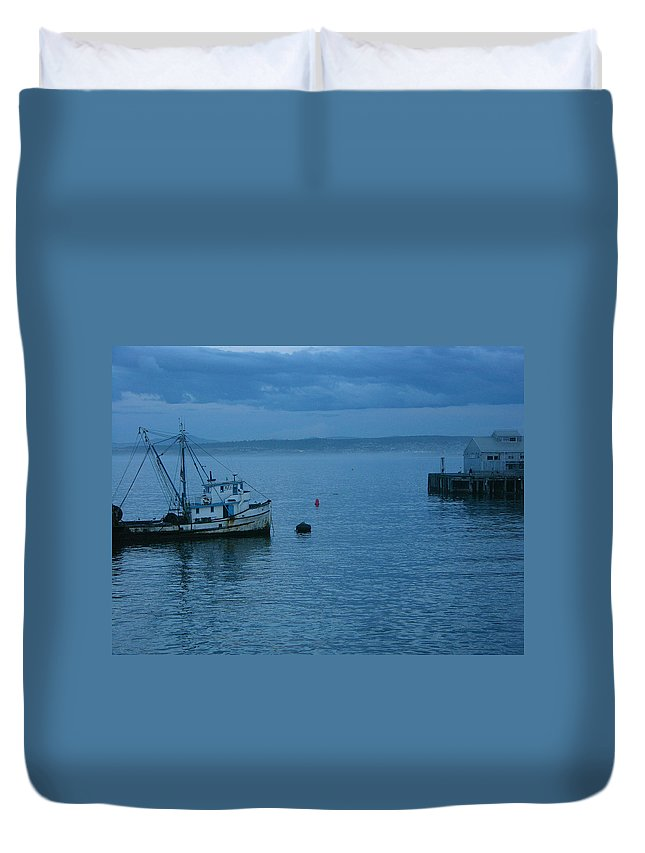 Tugboat Duvet Cover featuring the photograph Monterey Tug by Karen Lambert