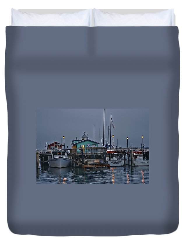 Beach Duvet Cover featuring the photograph Monterey Wharf 2 by SC Heffner