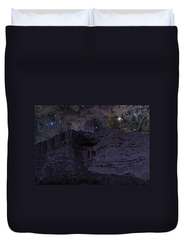 Brick Duvet Cover featuring the photograph Montezuma At Night by Paul Fell