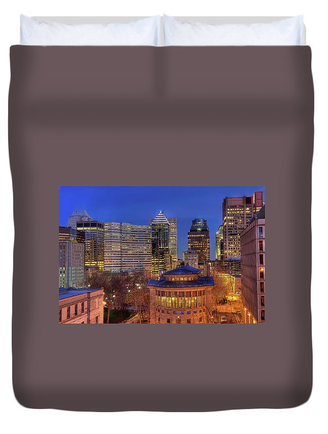 Tranquility Duvet Cover featuring the photograph Montreal Downtown At Dusk Hdr II by Jean Surprenant