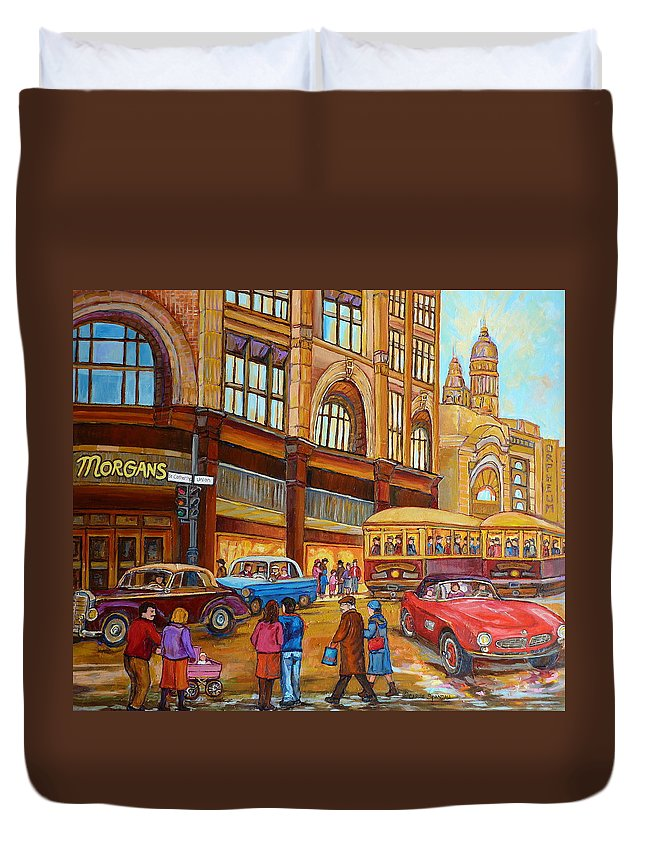 Montreal Duvet Cover featuring the painting Montreal Memories-streetcars-morgan's Department Store At St.catherine And Union by Carole Spandau
