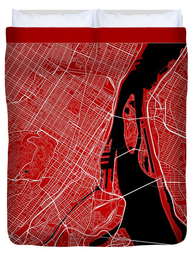 Road Map Duvet Cover featuring the digital art Montreal Street Map - Montreal Canada Road Map Art On Color by Jurq Studio