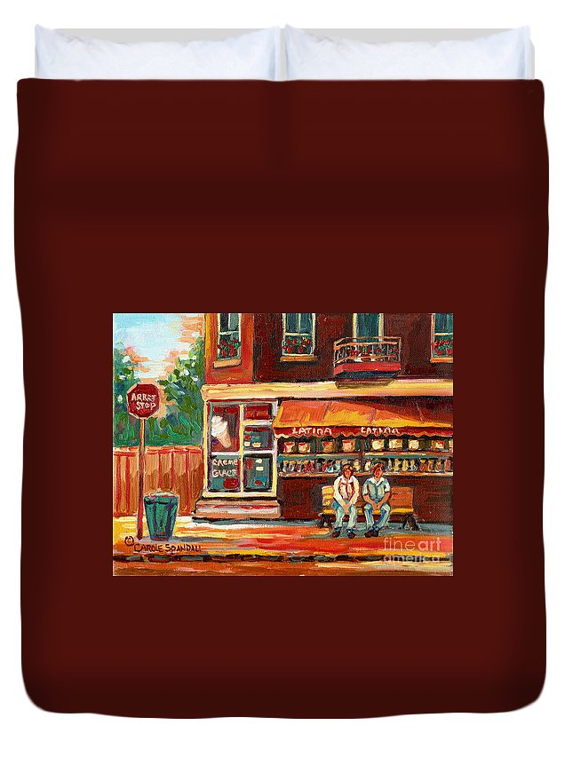Montreal Duvet Cover featuring the painting Montreal Street Scene Paintings by Carole Spandau