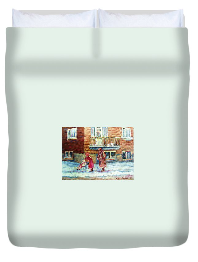 Montreal Duvet Cover featuring the painting Montreal Winter Scenes by Carole Spandau