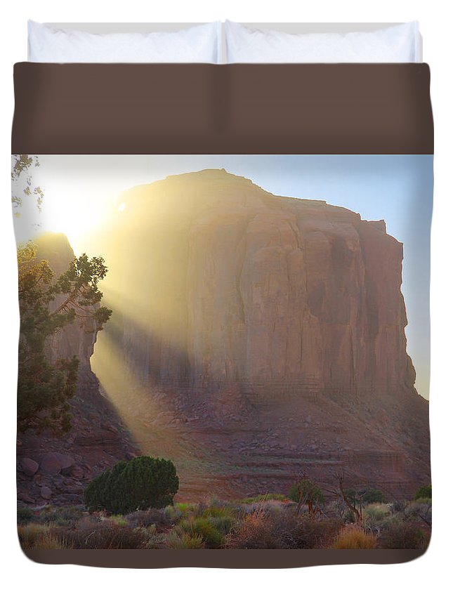 Monument Valley Duvet Cover featuring the photograph Monument Valley At Sunset 2 by Mike McGlothlen