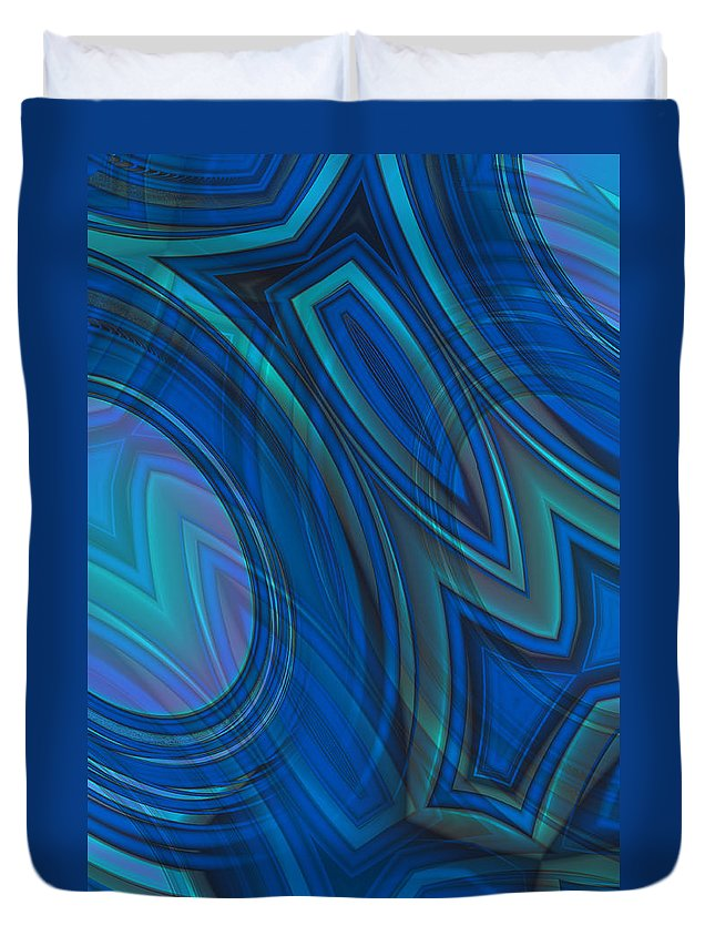 Mood In Blues Duvet Cover featuring the digital art Mood In Blues by Mary Machare