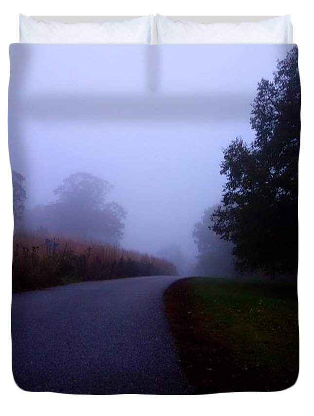 Autumn Duvet Cover featuring the photograph Moody Autumn Pathway by Jacqueline Athmann