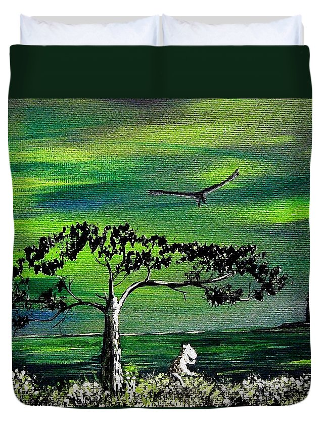 Decotarive Duvet Cover featuring the painting Moomintroll And Lighthouse by Anastasiya Malakhova