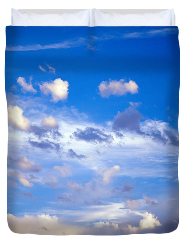 Afternoon Duvet Cover featuring the photograph Moon And Clouds by Tracy Knauer