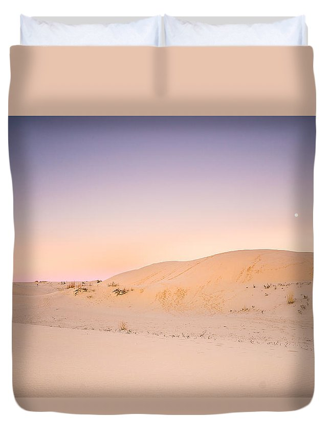 Sands Duvet Cover featuring the photograph Moon And Sand Dune In Twilight by Ellie Teramoto
