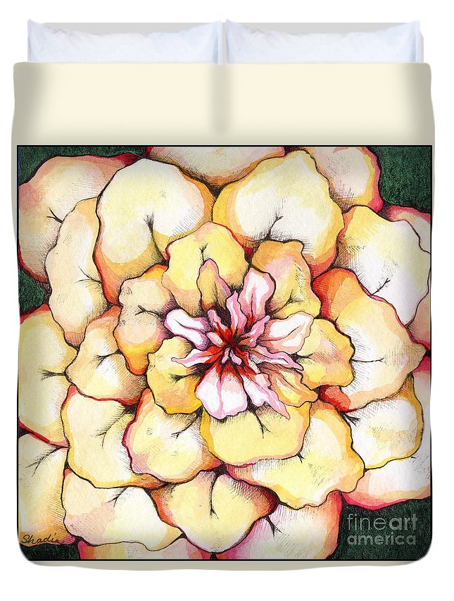 Bloomers Duvet Cover featuring the painting Moon Flower Out Of The Bloomers And Onto The Bloom by Shadia Derbyshire