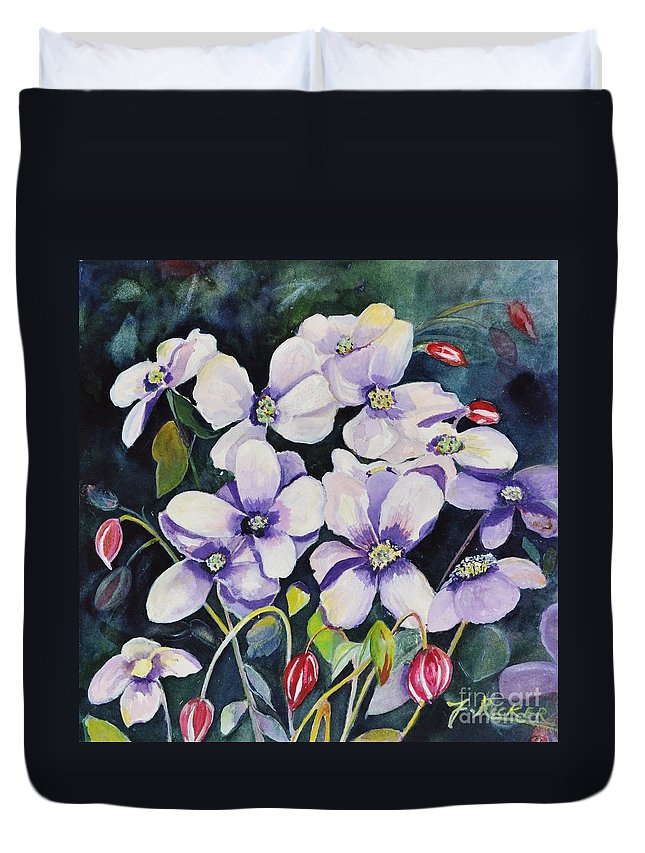 Moon Duvet Cover featuring the painting Moon Flowers by Jane Ricker