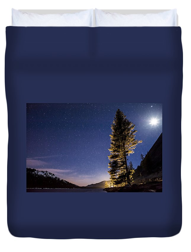 Night Duvet Cover featuring the photograph Moon Light Over Tenaya Lake by Cat Connor