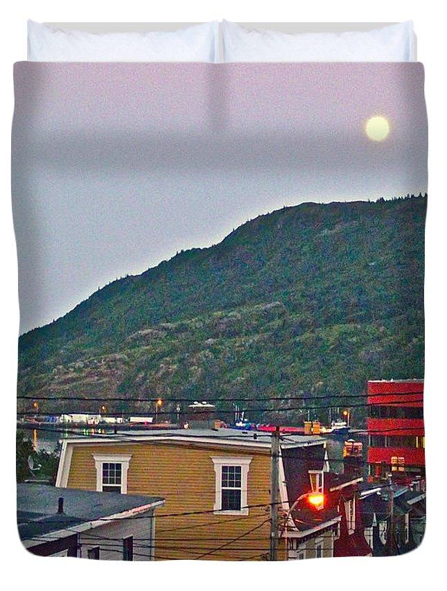 Moon Over Saint John's Duvet Cover featuring the photograph Moon Over Saint John's-nl by Ruth Hager