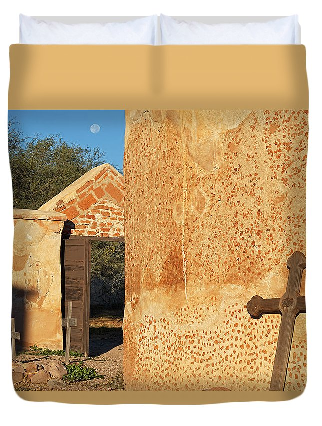 Architecture Duvet Cover featuring the photograph Moon Over Tumacacori Cemetery by Tom Daniel