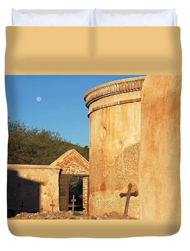 Architecture Duvet Cover featuring the photograph Moon Over Tumacacori Mortuary by Tom Daniel