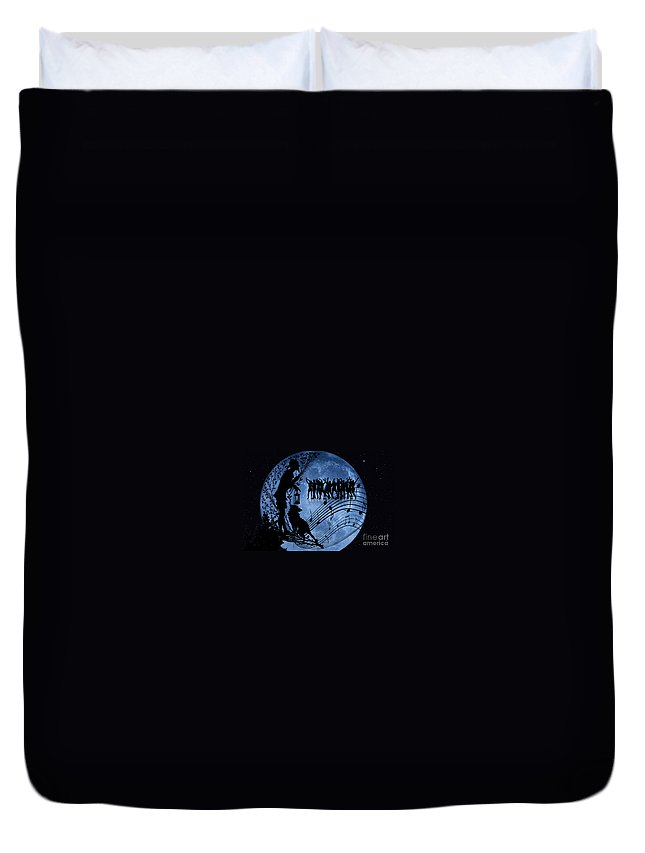 Dancing Duvet Cover featuring the digital art Moon Party by Ben Yassa